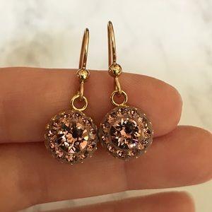 Handmade Blush Rose Swarovski Crystal Earrings